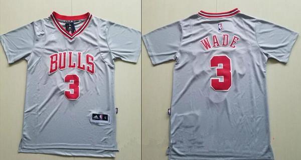 Men s Chicago Bulls  3 Dwyane Wade Gray Short-Sleeved Stitched NBA Adidas  Revolution 30 Swingman Jersey e396ef56d