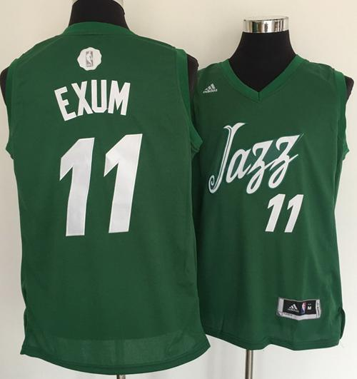 buy popular 46b3a 4d740 Men's Utah Jazz #11 Dante Exum adidas Green 2016 Christmas ...