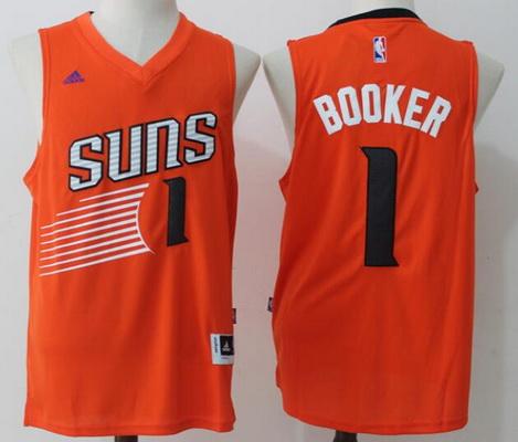 9ed88c9cb Men s Phoenix Suns  1 Devin Booker Orange Stitched NBA adidas Revolution 30  Swingman Jersey