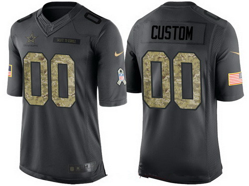 Men s Dallas Cowboys Custom Anthracite Camo 2016 Salute To Service Veterans  Day NFL Nike Limited Jersey d45dbce2a