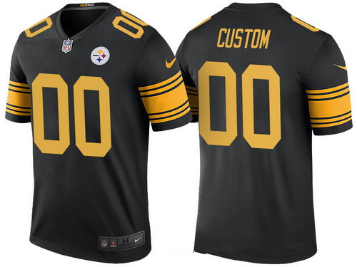 cheap for discount 2f8fc 897bc Men's Pittsburgh Steelers Black Custom Color Rush Legend NFL ...
