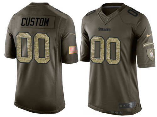 new concept 734d5 b3ad6 Men's Pittsburgh Steelers Custom Olive Camo Salute To ...