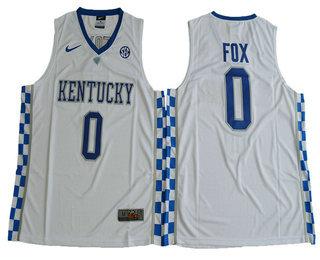 69b043e143f Men's Kentucky Wildcats #0 De'Aaron Fox White College Basketball 2017 Nike  Swingman Stitched NCAA Jersey