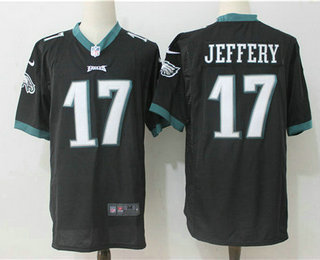 mens philadelphia eagles 17 alshon jeffery black alternate stitched nfl nike game jersey