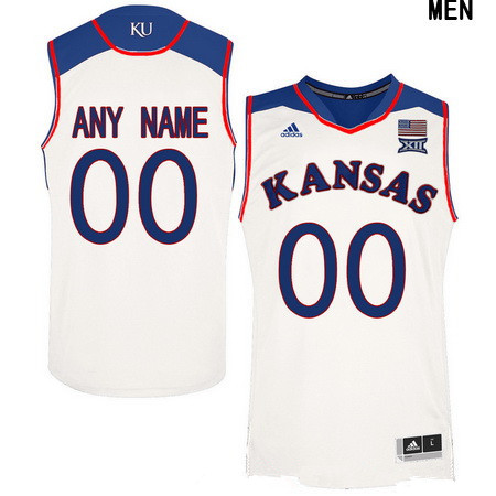 Youth Kansas Jayhawks Custom Adidas College Basketball Authentic Jersey - White
