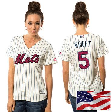 hot sale online 6b373 69ba8 Women's New York Mets #5 David Wright White Stars & Stripes ...