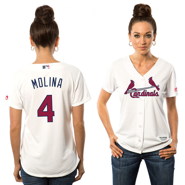 08412e67 Women's St. Louis Cardinals #4 Yadier Molina White Stars & Stripes Fashion  Independence Day Stitched MLB Majestic Cool Base Jersey