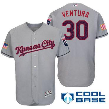 5a6e675d2c5 Men s Kansas City Royals  30 Yordano Ventura Gray Stars   Stripes Fashion  Independence Day Stitched