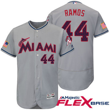 d745d5fbc ... cool base jersey 1355d b4aac  official mens miami marlins 44 a.j. ramos  gray stars stripes fashion independence day stitched mlb 4f59b