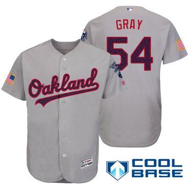 Men's Oakland Athletics #54 Sonny Gray Gray Stars & Stripes Fashion Independence Day Stitched MLB Majestic Cool Base Jersey