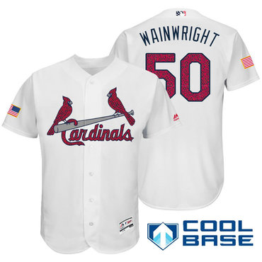 Men's St. Louis Cardinals #50 Adam Wainwright White Stars & Stripes Fashion Independence Day Stitched MLB Majestic Cool Base Jersey
