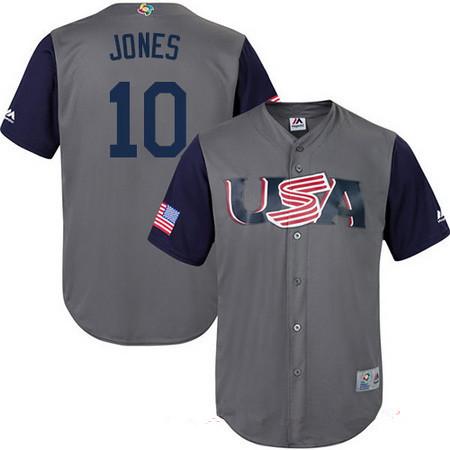 Men's Team USA Baseball Majestic #10 Adam Jones Gray 2017 World ...