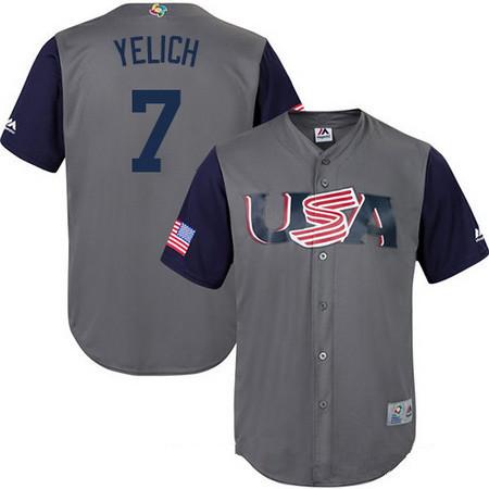 Men's Team USA Baseball Majestic #5 Josh Harrison Gray 2017 World Baseball Classic Stitched Replica Jersey
