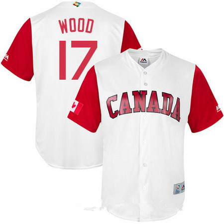 Men's Team Canada Baseball Majestic #25 Shane Dawson White 2017 World Baseball Classic Stitched Replica Jersey