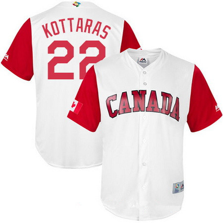 Men's Team Canada Baseball Majestic #63 Chris Leroux White 2017 World Baseball Classic Stitched Replica Jersey