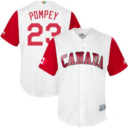 Men's Team Canada Baseball Majestic #9 Rene Tosoni White 2017 World Baseball Classic Stitched Replica Jersey