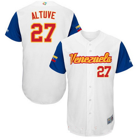 Men's Team Venezuela Baseball Majestic #27 Jose Altuve White 2017 World Baseball Classic Stitched Authentic Jersey