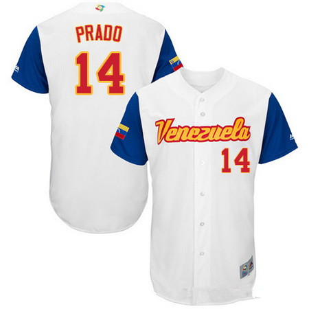 Men's Team Venezuela Baseball Majestic #14 Martin Prado White 2017 World Baseball Classic Stitched Authentic Jersey