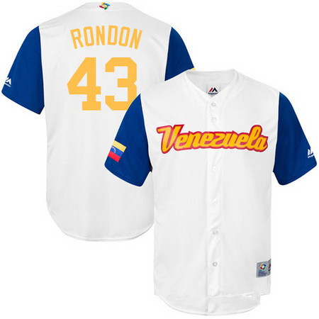 Men's Team Venezuela Baseball Majestic #43 Bruce Rondon White 2017 World Baseball Classic Stitched Replica Jersey