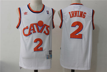 6f654fb2 Men's Cleveland Cavaliers #2 Kyrie Irving White Hardwood Classics Soul  Swingman Throwback Jersey