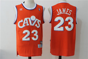 38e65444 Men's Cleveland Cavaliers 23 Lebron James Orange Hardwood Classics Swingman  Jersey