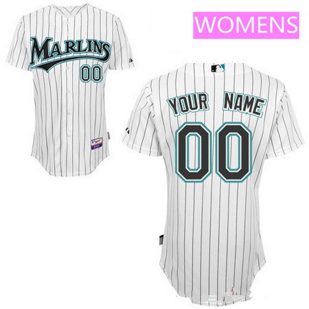 Women's Florida Marlins White Home Majestic Old Cool Base Custom ...