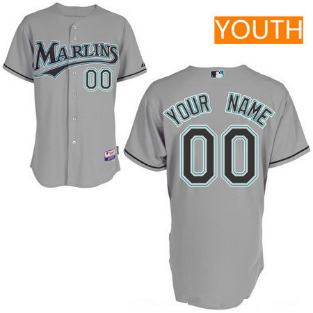 c62d2e6468f Youth Florida Marlins Gray Road Majestic Old Cool Base Custom Baseball  Jersey