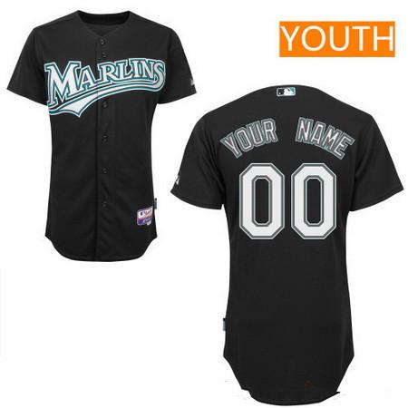 Youth Florida Marlins Black Alternate Majestic Old Cool Base ...