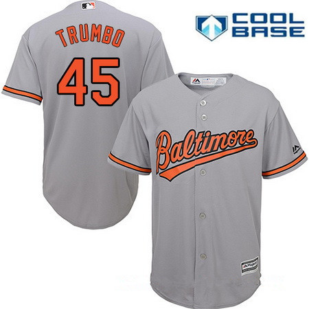 312c4965ac5 Men s Baltimore Orioles  45 Mark Trumbo Gray Road Stitched MLB Majestic  Cool Base Jersey