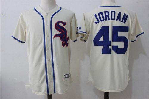 bcb6c10c25b ireland mens chicago white sox 45 michael jordan 2017 cream stitched mlb  majestic cool base jersey