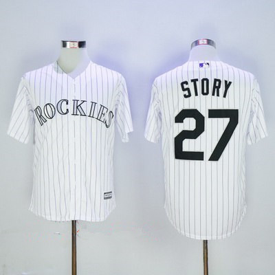 mens colorado rockies 27 trevor story white home stitched mlb majestic cool base jersey