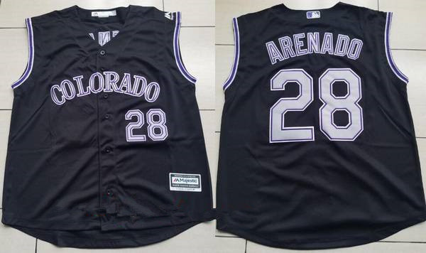 8cd780917cb Men s Colorado Rockies  28 Nolan Arenado Black Vest Sleeveless Stitched MLB  Majestic Cool Base Jersey