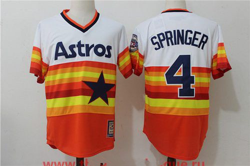 9edf8f05b Men's Houston Astros #4 George Springer Orange Rainbow Cooperstown Stitched MLB  Majestic Cool Base Jersey