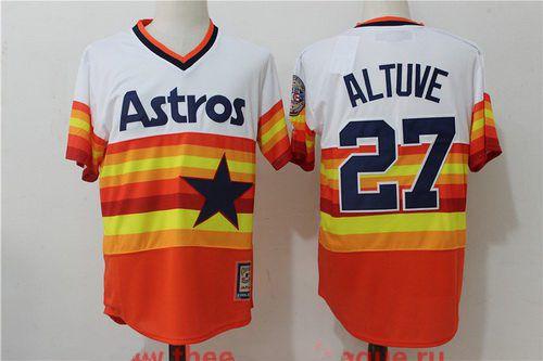ad7f54c6b90 Men s Houston Astros  27 Jose Altuve Orange Rainbow Cooperstown Stitched  MLB Majestic Cool Base Jersey