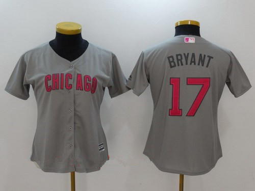 wholesale dealer 6d0f3 9ae19 Women's Chicago Cubs #17 Kris Bryant Gray with Pink Mother's ...