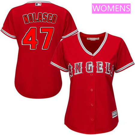 Women's Los Angeles of Anaheim #47 Ricky Nolasco Red Alternate Stitched MLB Majestic Cool Base Jersey