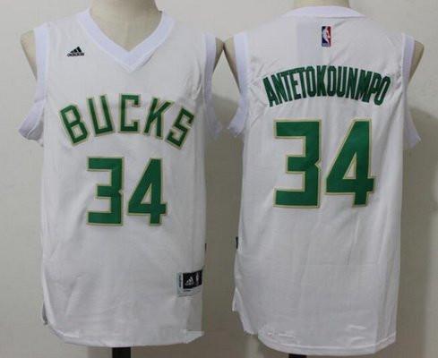 best deals on a0e97 773a4 Men's Milwaukee Bucks #34 Giannis Antetokounmpo All White ...