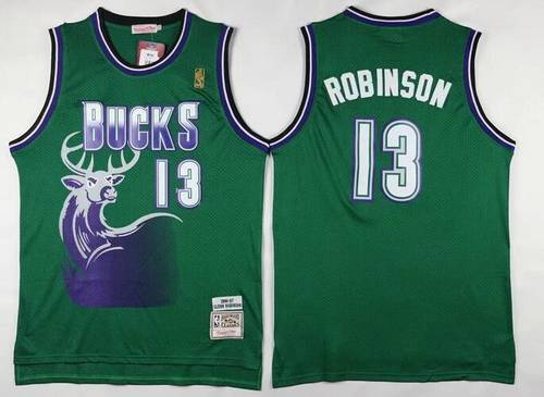 new arrival bf16c 54a87 Men's Milwaukee Bucks #13 Glenn Robinson Green Hardwood ...