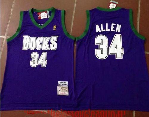 Men's Milwaukee Bucks #34 Ray Allen Purple Hardwood Classics Soul ...