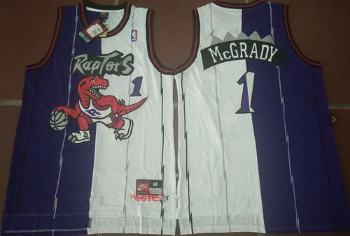 e84009b84 Men s Toronto Raptors  1 Tracy McGrady Purple White Two Tone Stitched NBA  Hardwood Classic Swingman Jersey