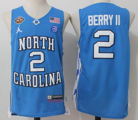 Men's North Carolina Tar Heels #2 Joel Berry II Light Blue Final Four Patch College Basketball 2017 Brand Jordan Swingman Stitched NCAA Jersey