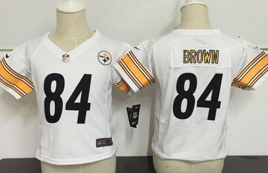 Toddler Pittsburgh Steelers #84 Antonio Brown White Road Stitched NFL Nike Game Jersey