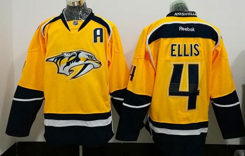 Men s Nashville Predators  4 Ryan Ellis Yellow Stitched NHL Reebok Hockey  Jersey e0cb00c3b