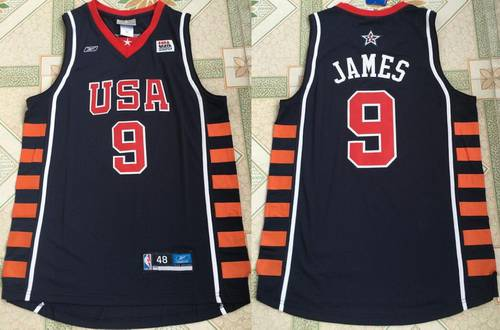 2004 Olympics Team USA Men's #9 LeBron James Navy Blue Stitched Basketball Reebok Swingman Jersey