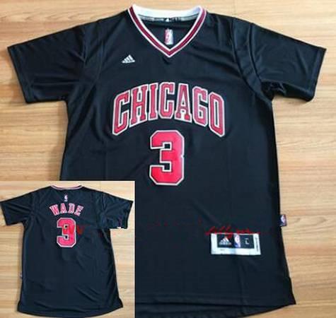 Men s Chicago Bulls  3 Dwyane Wade New Black Short-Sleeved Stitched NBA  Adidas Swingman e6312e7e4