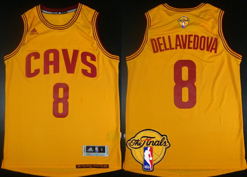 28d968889 Men s Cleveland Cavaliers  8 Matthew Dellavedova 2017 The NBA Finals Patch  Yellow Jersey