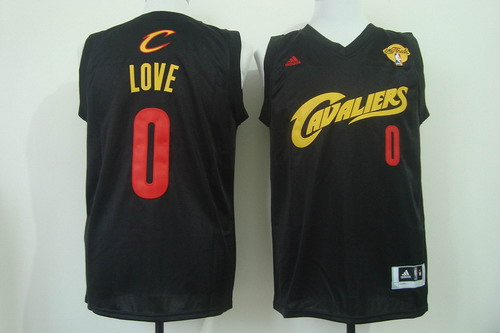 Men's Cleveland Cavaliers #0 Kevin Love 2017 The NBA Finals Patch Black With Red Fashion Jersey