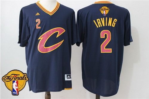 Men's Cleveland Cavaliers Kyrie Irving #2 2017 The NBA Finals Patch New Navy Blue Short-Sleeved Jersey