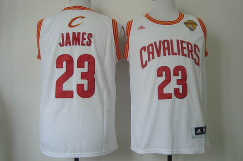 b8f4fa2e6 Men s Cleveland Cavaliers  23 LeBron James 2017 The NBA Finals Patch White  Swingman Jersey