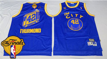 Men's Warriors #42 Nate Thurmond Blue Throwback The City 2017 The Finals Patch Stitched NBA Jersey